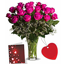 Eighteen Pink Roses With Card: Flower Arrangements in Canada