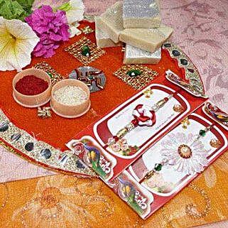 Flower Rakhi Set of Two Thali with Kaju Katli: Rakhi with Sweets to Canada