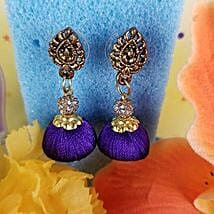 Gorgeous Thread Earrings Blue: Rakhi Gifts for Sister in Canada