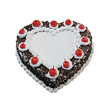 Heartshape Black Forest Cake 1KG: Valentines Day Cake Delivery in Canada