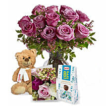 Lavender Roses with Teddy N Chocolate: Rose Day Gift Delivery in Canada