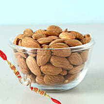 Om Rakhi And Almonds 100Gms Combo: Rakhi and Dryfruits to Canada