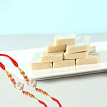 Om Rakhi And Delicious Kaju Katli Combo: Same Day Gift Delivery in Canada