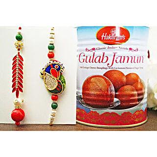 Peacock Lumba Rakhi Set N Gulab Jamun: Rakhi and Sweets to Canada