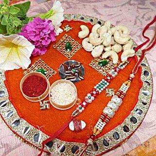 Pearl Rakhi Set Of Two Thali With Cashew: Rakhi and Dryfruits to Canada