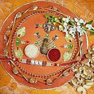 Pearl Rakhi Thali With Assorted Dry Fruits: Rakhi to Winnipeg