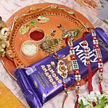 Red Beads Rakhi 4 With Dairy Milk Mixed Dry Fruits Thali: Send Rakhi and Chocolates to Canada