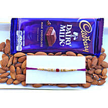 Red Stone and beads Rakhi with dual treat: Send Rakhi and Chocolates to Canada