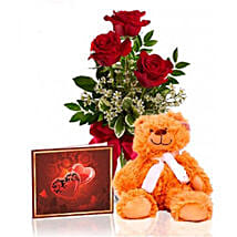 Roses N Teddy Combo: Send Birthday Flowers to Canada