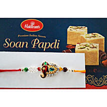 Stone and beads Rakhi with Soan Papdi: Rakhi with Sweets to Canada