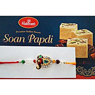 Stone and beads Rakhi with Soan Papdi: