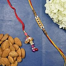 Traditional Bhaiya Bhabhi Rakhi With Almonds: Rakhi for Bhaiya Bhabhi to Canada