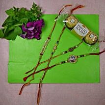 Traditional Rakhi Set Of Four With Rocher Ferrore: Send Rakhi and Chocolates to Canada
