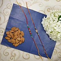 Traditional Rakhi Set Of Two with Almonds: Rakhi with Dryfruits to Canada