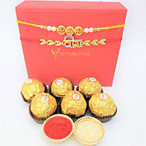 Traditional Rakhis And Rocher 6 Pieces Combo: Set of 2 Rakhi Delivery in Canada