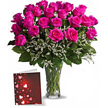 Two Dozen Pink Roses With Card: Flower Arrangements in Canada