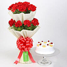 Two Layer Carnations Bouquet With Pineapple Cake: Flowers with Cakes to Canada