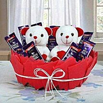 Valentine Teddy N Chocolate Combo: Chocolate Delivery Canada