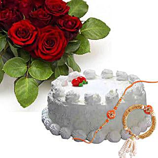 Vanilla Cake With Dozen Roses With Rakhi: Rakhi Delivery in Canada