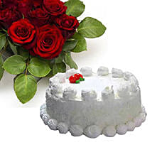 Vanilla Cake With Dozen Roses: Flowers and Cakes in Canada
