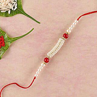 Gorgeous White And Red Beads Rakhi: Send Rakhi to China