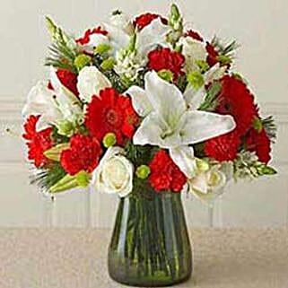 Red n white Vass arrangement CIN: Valentine Flowers to China