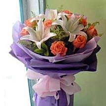 Rose Lily bouquet CIN: Corporate Hampers to China