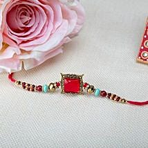 Square Pink Rakhi: Rakhi Delivery in Colombia