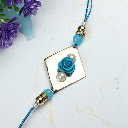 Blue Rose with Pearl Rakhi FRA