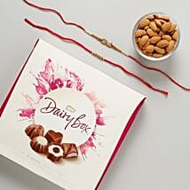 Bhaiya Rakhi Set with Dairy Box Chocolates Hamper: Rakhi Gifts to France