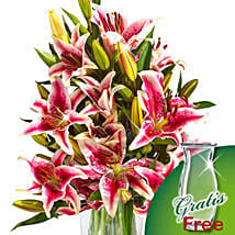 10 pink Stargazer Lilies in a bunch: Womens Day Gifts to Germany