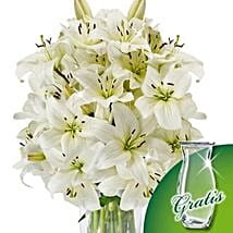 10 white lilies in a bunch: