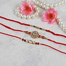American Diamond Rakhi Set: Rakhi to Dusseldorf
