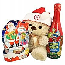 Christmas Kinder Teddy with Kids Champagne: Christmas Gift Hampers to Germany