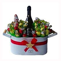 Christmas Sweet Flowerbed with Sparkling Wine: Christmas Gift Hampers to Germany