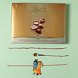 Family Rakhi set with Lindt Finest Swiss Chocolates: 3 Rakhi Set to Germany