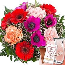Flower Bouquet Blutensensation With Vase and Merci: Sending Flowers to Germany