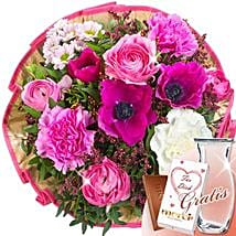 Flower Bouquet Poesie With Vase and Merci: Order Flowers in Germany