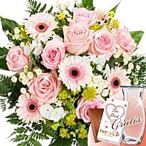 Flower Bouquet Samtweich With Vase and Merci: Order Flowers in Germany