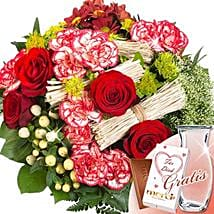 Flower Bouquet Velvet With Vase and Merci: Birthday Gifts Delivery in Germany