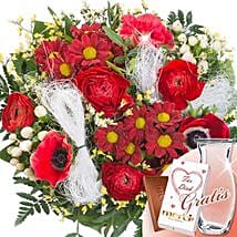 Flower Bouquet Zuneigung With Vase and Merci: Sending Flowers to Germany