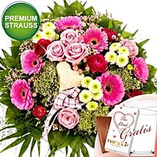 Herzensbrecher With Premium Vase and Merci: Order Flowers in Germany
