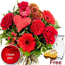 Ich Liebe Dich Flowers With Chocolates: Send Carnations to Germany