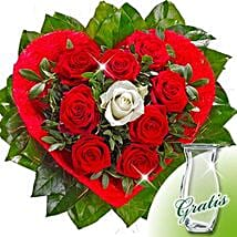 Rose Bouquet Amore with vase: Bouquets for Anniversary