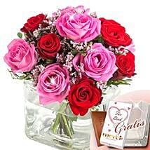 Rose Ensemble I Love You With Vase and Merci: Order Flowers in Germany
