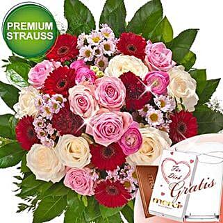 Rosen Deluxe With Premium Vase and Merci: Order Flowers in Germany