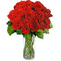 Dozen Roses in a Vase Gre: Send Gifts to Greece