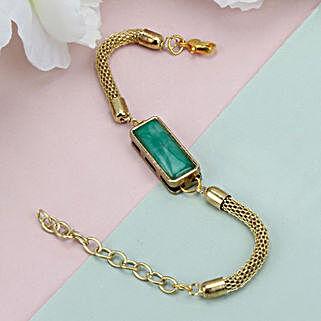 Premium Green Stone Rakhi HAI: