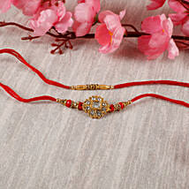 Premium Designer Diamond Rakhi Set: Send Rakhi to Hungary