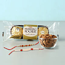 Rocher And almonds With 2 Designer Rakhis: Set Of 2 Rakhi To Indonesia